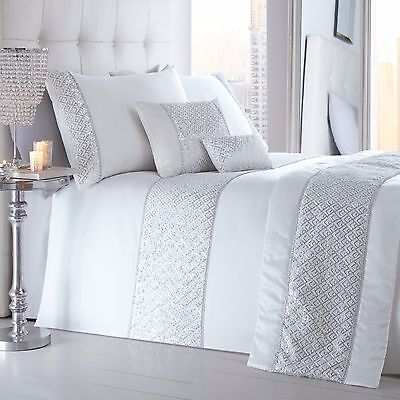 Shimmer White Duvet Quilt Cover Set Luxurious Quilted Sequin Sparkle Diamante
