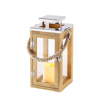 Regular Wooden Battery Operated LED Candle Lantern with Rope Handle by Lights4fu