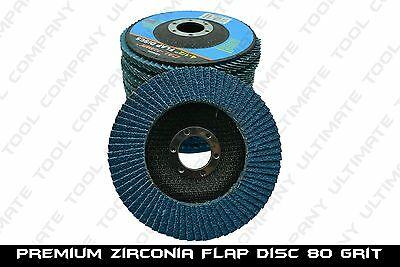 "(10) 4-1/2"" x 7/8"" DURABLE PREMIUM ZIRCONIA GRINDING WHEEL FLAP DISC 80 GRIT NEW"