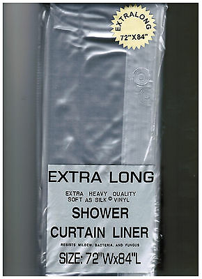 """EXTRA LONG 72"""" x 84"""" CLEAR SHOWER CURTAIN Liner decor vinyl Carnation Home"""