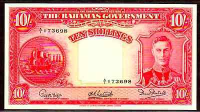 "BAHAMAS P10d ""KING GEORGE VIth"" 1936 10 SHILLINGS RAW EXTREMELY FINE!"