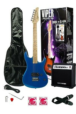 New Viper Beginners 6 String Electric Guitar Package 10w Amp Gig Bag Blue