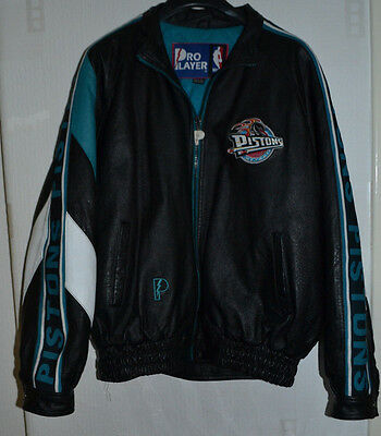 Very Rare Official Nba Detroit Pistons Leather Jacket By Pro Player Size Xl