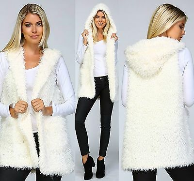 LISTICLE Boho 70's Super Shaggy Faux Sherpa Ivory Fur Vest with Hood! Fuzzy S-L