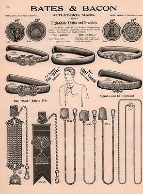 1907 Ad Bates Bacon Attleboro Jewelry Swastika Teddy Watch Fobs Lockets