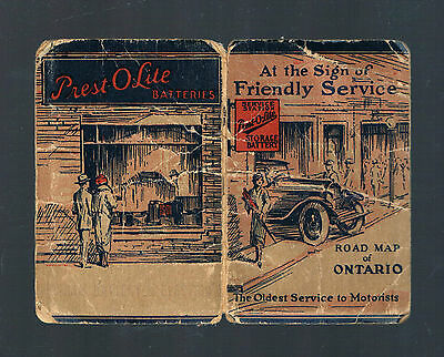 """1925 PREST-O-LITE Road Map of Ontario,""""The Oldest Service to Motorists"""" RARE!"""