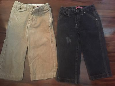 2 pair boys PANTS LOT black denim jeans DRESS KHAKI CORDUROY baby gap SIZE 2T