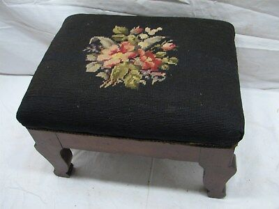 Early Wooden Foot Stool w/Needlepoint Embroidery Cover Footstool Rest Flower
