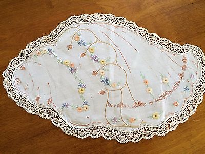 Unusual linen, hand embroidered doily with crochet trim - seashell and flowers