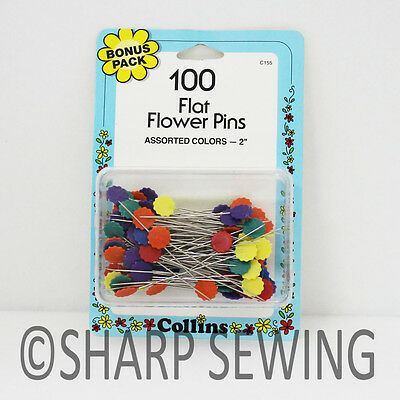 """Collins Flat Flower Pins 2"""" - Assorted Colors 100 Each #c155"""