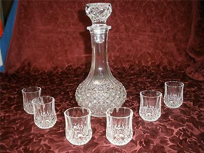 STUNNING 24% LEAD CRYSTAL DECANTER + 6 SHERRY GLASSES CRISTAL d'ARQUES FRANCE