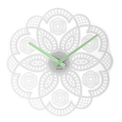 Karlsson Lace Cut Out Glass Kitchen Home Bedroom Wall Clock 38cm White