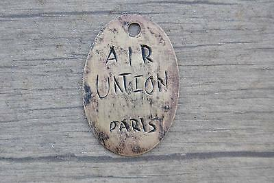 """VINTAGE """" AIR UNION PARIS """"  FRENCH LUCKY BRASS TAG NO.33 Hand Engraved"""