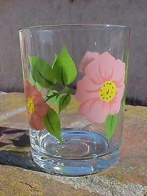 New Franciscan Signed Glassware Desert Rose Glasses Old Fashioned Tumblers Drink