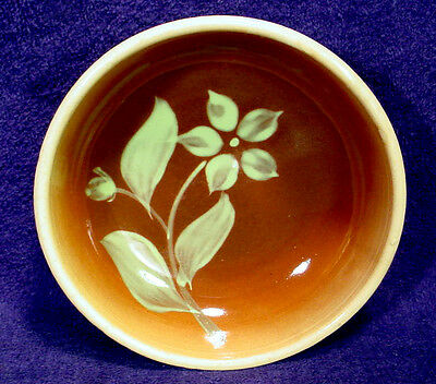 Vintage WATT POTTERY Brown SILHOUETTE Cereal #23 Bowl STAR FLOWER Hand Painted