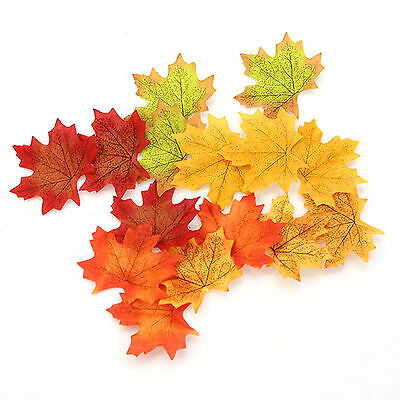 100Pcs Artificial Fall Silk Leaves Wedding Favor Autumn Maple Leaf Decorations
