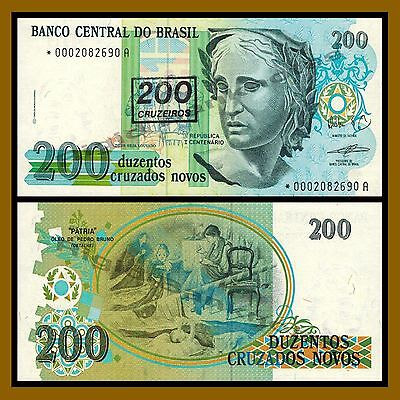 Brazil 200 Cruzeiros on 200 Cruzados Novos, 1990 P-225 Replacement * Unc