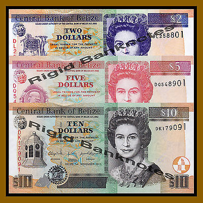 Belize 2 5 10 Dollars Set, 2011 P-66d/67e/68d Queen Elizabeth II Unc