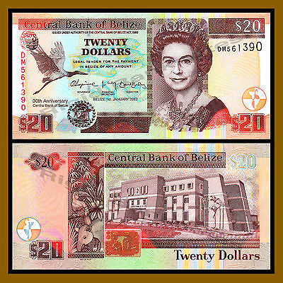 "Belize 20 Dollars, 2012 P-72 ""Comm. 30th Anniversary Central Bank"" QE II Unc"