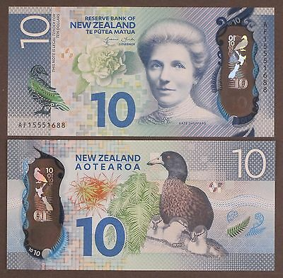 New Zealand 10 Dollars, 2015 P-192 Polymer Kate Sheppard Unc