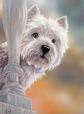 """WEST HIGHLAND WHITE WESTIE TERRIER DOG LIMITED EDITION PRINT  """"Highland Bedtime"""""""