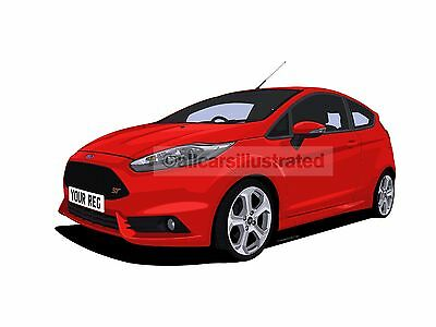 Ford Fiesta St Mk7 (Facelift) Car Art Print Picture (Size A4). Personalise It!