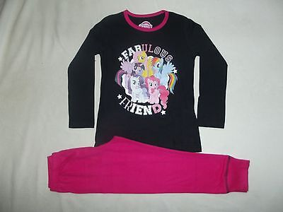 "BNWT GIRLS MY LITTLE PONY ""fabulous friends"" CHARACTER BLK/PINK PYJAMAS 3-10 yrs"