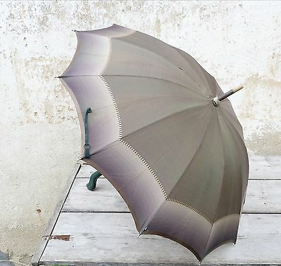 Antique 1900 French green gradient rain umbrella with leather handle