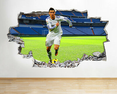 H960 Ronaldo Real Madrid Football Smashed Wall Decal 3D Art Stickers Vinyl Room