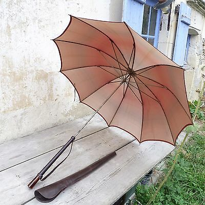 Antique 1900 French salmon gradient rain umbrella with leather protection