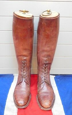 Antique Vintage Leather Laced Brown Riding Boots