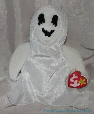 "NEW 1999 TY Beanie Babies Plush White 8"" SHEETS The SPOOKY GHOST Halloween"