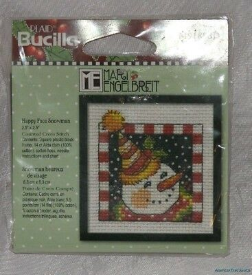 NEW BUCILLA Counted Cross Stitch Kit MARY ENGELBREIT Happy Face Snowman Ornament