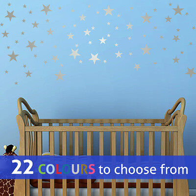 MIXED size 1, 2 and 3 inch STARS pack of 75, wall art sticker decal baby nursery