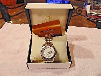 MR Mount Royal stainless steel men's watch model M3030W Water Resistant NEW