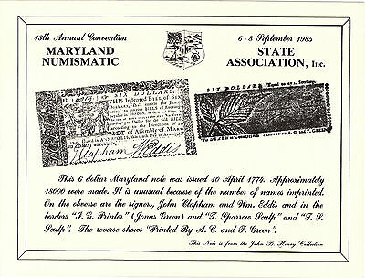 1985 M.S.N.A Souvenir Card - 1774 $6.00 Maryland Colonial Currency - Annapolis