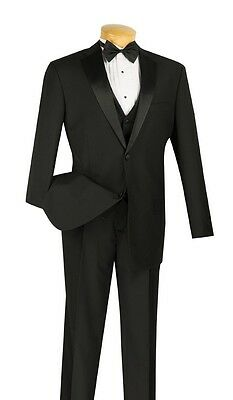 Men's Formal Tuxedo Prom Wedding Groom Suit Classic Fit BLACK With Vest, Bow Tie