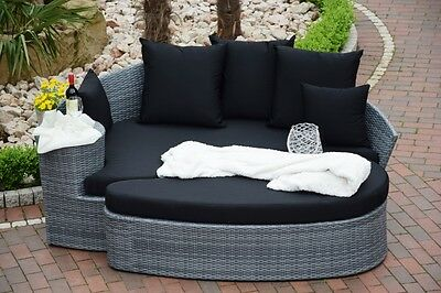 lounge rattan gartenm bel sonneninsel liege rundgeflecht. Black Bedroom Furniture Sets. Home Design Ideas