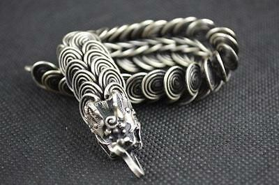 Collectibles Handwork Tibet - Silver & Chinese old lucky Dragon Bracelet