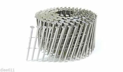 """Bostitch 3"""" 10d Coil Nails Ring Shank STAINLESS STEEL 15 Degree"""