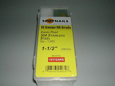 """Spotnails 15 Gauge Angled Finish Nails 1.5"""" DA Style 34 Degree STAINLESS STEEL"""