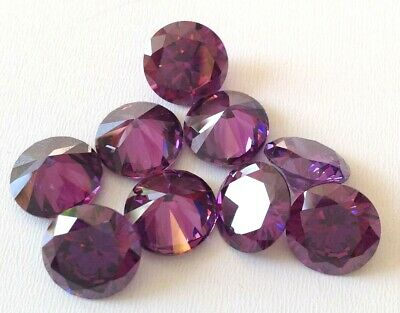 CUBIC ZIRCONIA loose AAA Amethyst IF lot 1-15mm Round CZ Stones *Wholesale*  USA