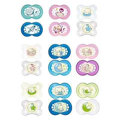 MAM Soother Night Glow in the Dark Dummy Sterilisable Case Sleep - 2 Pack