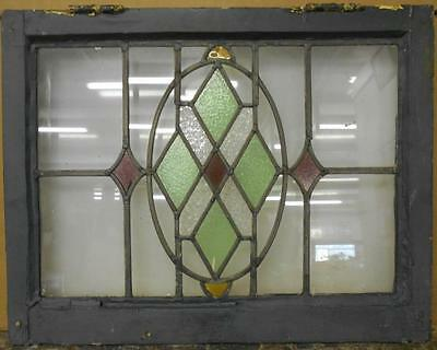"""MID SIZED OLD ENGLISH LEADED STAINED GLASS WINDOW  Stunning Geo 24"""" x 18.75"""""""