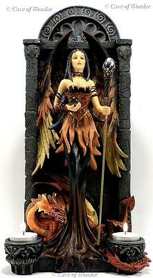 NEMESIS NOW DRAGON MISTRESS DARK ANGEL SORCERESS CANDLE T-LITE HOLDER Gothic