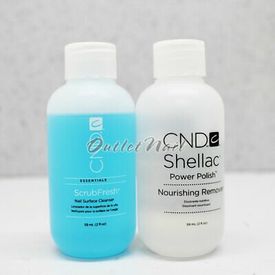 CND Shellac 3pc Set Kit Nourishing Remover 2oz +ScrubFresh 2oz +Alcohol 2oz/59ml