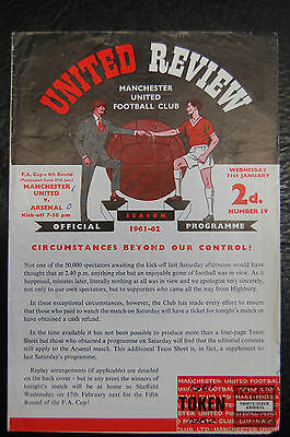 Manchester United V  Arsenal Fa Cup  31/01/1962  4-Page  Official Programme