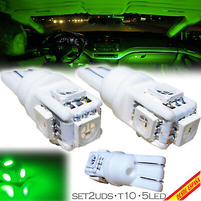 2x BOMBILLAS 5 LED VERDE SMD T10 W5W FESTOON MATRICULA INTERIOR GUANTERA GREEN