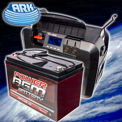 Ark Ap730 Powerpack Box + 135Ah Agm Battery 6 Stage Smart Dc-Dc Charger Kit New