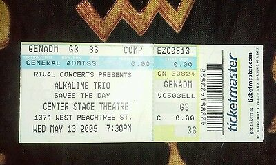 ALKALINE TRIO Ticket stub MAY 13 2009 ATLANTA